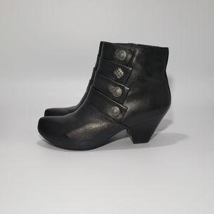 Dansko Baker Black Leather Ankle Bootie